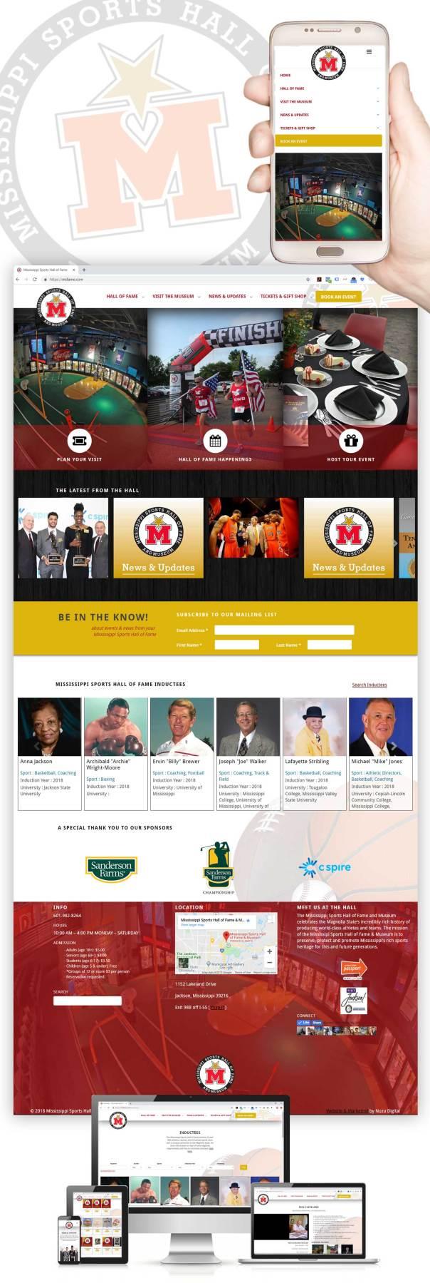 Responsive website design for the Mississippi Sports Hall of Fame