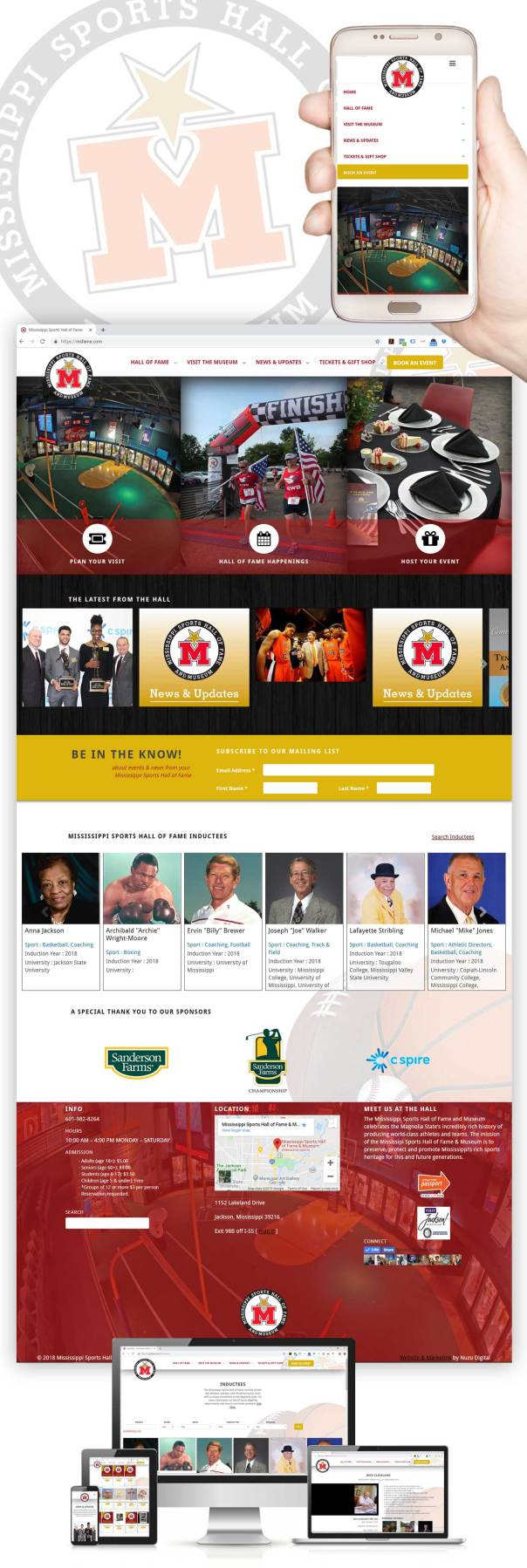 Responsive website design for the Mississippi Sports Hall of Fame