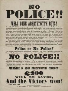 1850 Historical Poster No Police Aberystwyth Boys Community Patrols