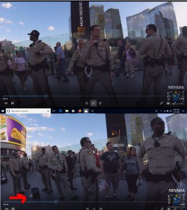 Screenshots of the donut theft by LVMPD officers in progress.