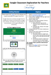 Google Classroom Exploration for Teachers
