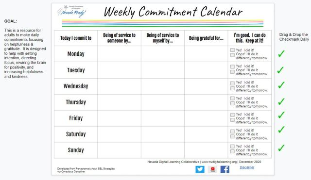 picture of weekly commitment calendar