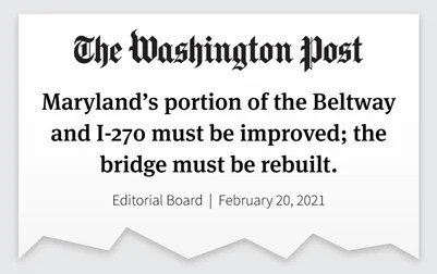 Featured Image for Washington Post Endorses the Maryland HOT Lanes Project