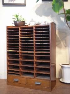 昭和レトロ,木製カルテケース, 手紙,書類整理,下駄箱