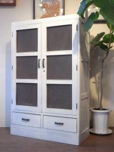 レトロ リペイント 白キャビネット 本棚 食器棚 飾り棚