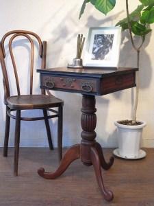 アンティーク カフェテーブル サイドテーブル 引き出し 花台
