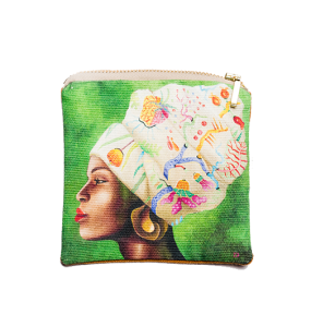 African Woman Floral Headpiece Coin Purse