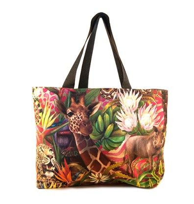 African Jungle: Giraffe/Leopard – Canvas Bag
