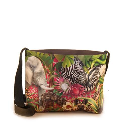 African Jungle: Elephant / Zebra – Sling Bag