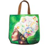African Woman  Beach Bag  Floral Headpiece