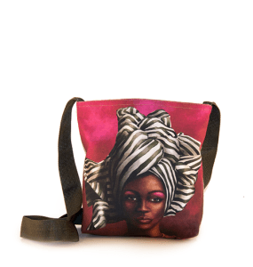 African Woman Black and White Sling Bag