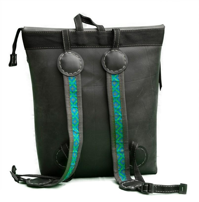 N&N Backpack Laptop bag Standing Rear view Fabric straps 1500pix