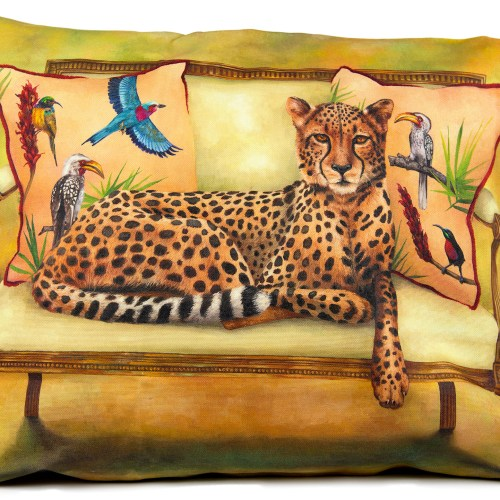 Cheetah on couch Pillow cover