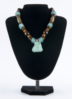 Necklace Light Blue and wood with Tigereye pendant