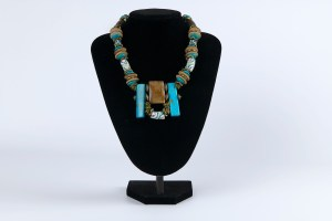Necklace Light Blue_White_Wood