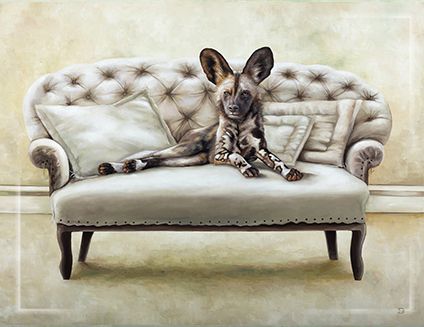 Fridge Magnet Wildlife at leisure Wild Dog on couch