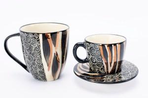 Letsopa Ceramics Mug Cup and Saucer in Black Zebra Gold design