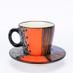 Letsopa Ceramics Cup and Saucer in Light Purple Orange design