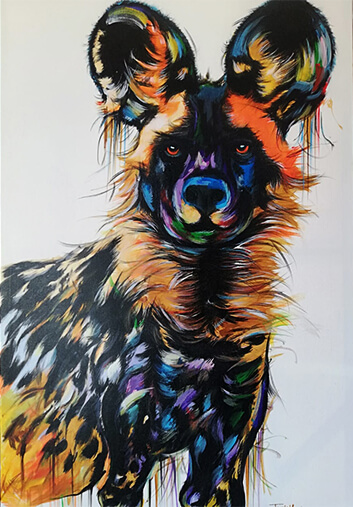 Painted dog by Justin Mashora 80x120cm