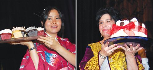 Left: Ngoc Nguyen presents cupcakes during the live dessert auction. Right: Someireh Amirfaiz, executive director of ReWA, holds a cake to be auctioned.