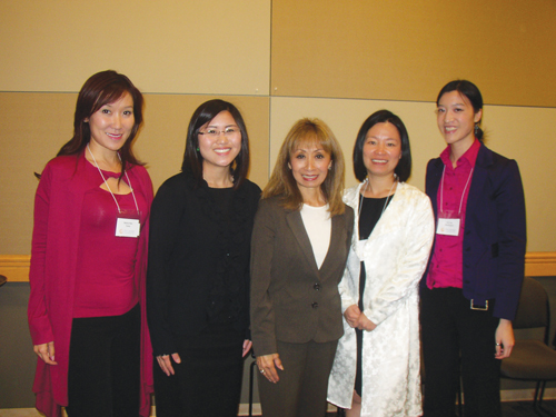 "Vanna Novak, Founder and President of Speak to Persuade, (third from left) stands by workshop participants (left to right) Mandy Kao, Lindsay Higashi, Kelly Dang, and Lily Liao at the conclusion of Novak's workshop on ""Speak to Persuade: When Being Informative Is Not Enough."""