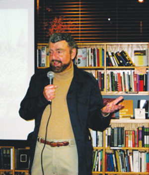 """Seattle University Film Lecturer, Richard Meyer, talks about his book, """"Jin Yan: The Rudolph Valentino of Shanghai,"""" at the University Bookstore in Seattle. (Photos by Katie Schmidt)"""