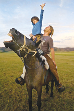 """Screen shot from the film, """"The Horse Boy,"""" of Rupert Isaacson and son Rowan (Photos provided by www.horseboymovie.com)"""