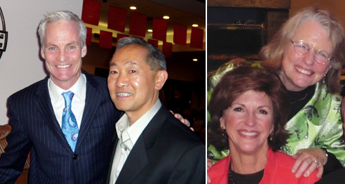 "Left image: Former ""Evening Magazine"" host and the event's auctioneer John Curley (left) with the event's benefit chair Stephen Locke. Right image: The Charles Simonyi Fund pledged a major grant to SCGS. Susan Hutchison (left), its executive director, poses with former Seattle Art Museum Director Mimi Gardner Gates."