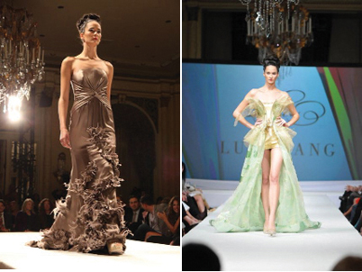 """Photo captions, from left: Luly Yang in the finale dress, thanking the crowd, Yang's """"Fade into You"""" green ombre silk charmeuse gown, Yang's """"Feathered Tough"""" taupe crepe satin silk gown, and Yang's """"The Creation"""" gown"""