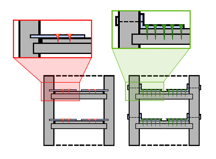 Figure 2: Ties installed improperly on the left, versus being connected to the floor joists on the right.(Illustration by Stacy Nguyen/NWAW)