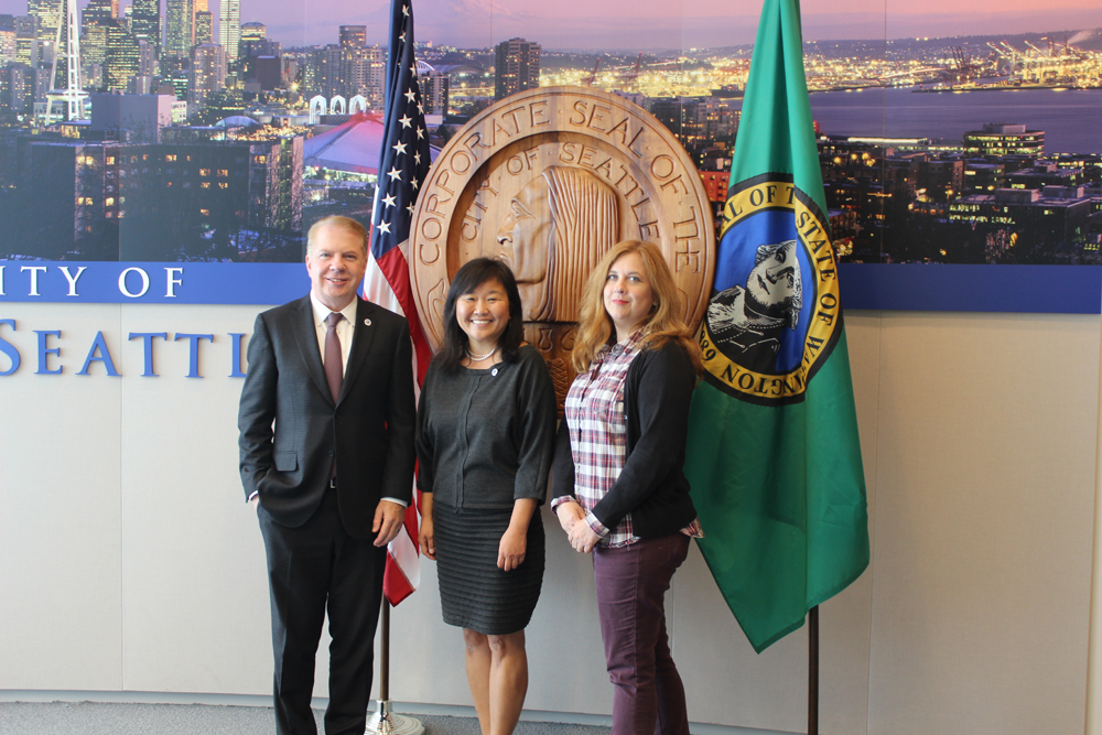 From left: Mayor Ed Murray, Mami Hara, and Councilmember Lisa Herbold. (Photo credit: City of Seattle)