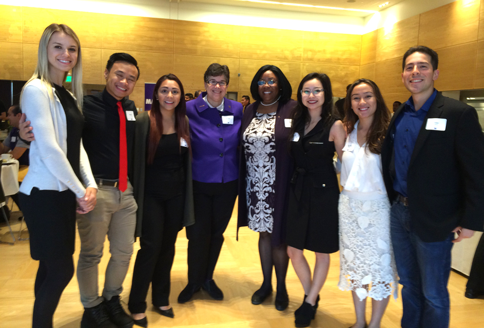 UW President Ana Mari Cauce (4th from left) with scholarship recipients. (Photo by Assunta Ng/NWAW)