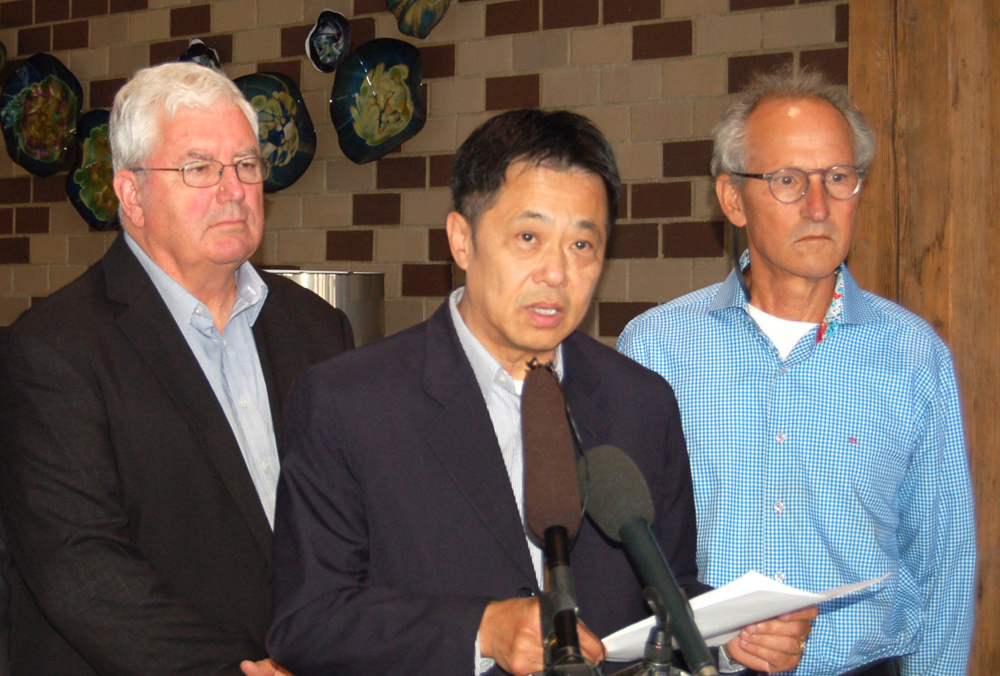 From left: Ron Lucas, Steilacoom mayor, Henry Liebman, Washington State Panda Foundation CEO, and Ron Chow, co-chairman.