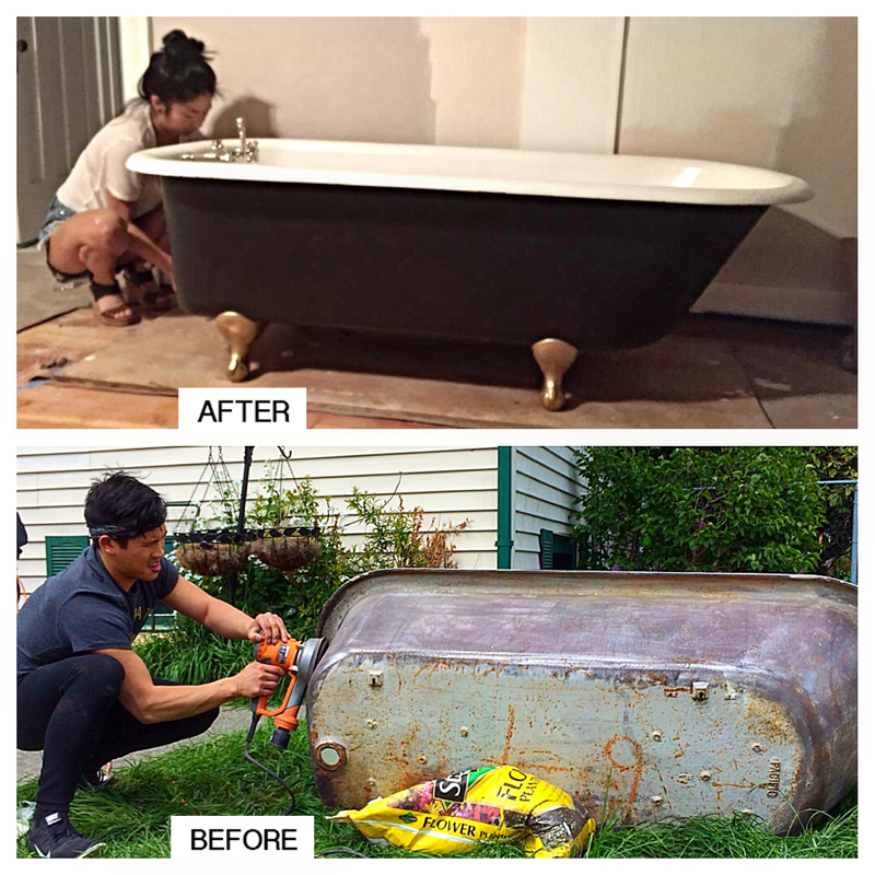 Jessica Louie and Alex Vo breathe new life into a claw-foot tub, which is a part of their renovation project, the Hudson House. (Photo from The Hudson House)