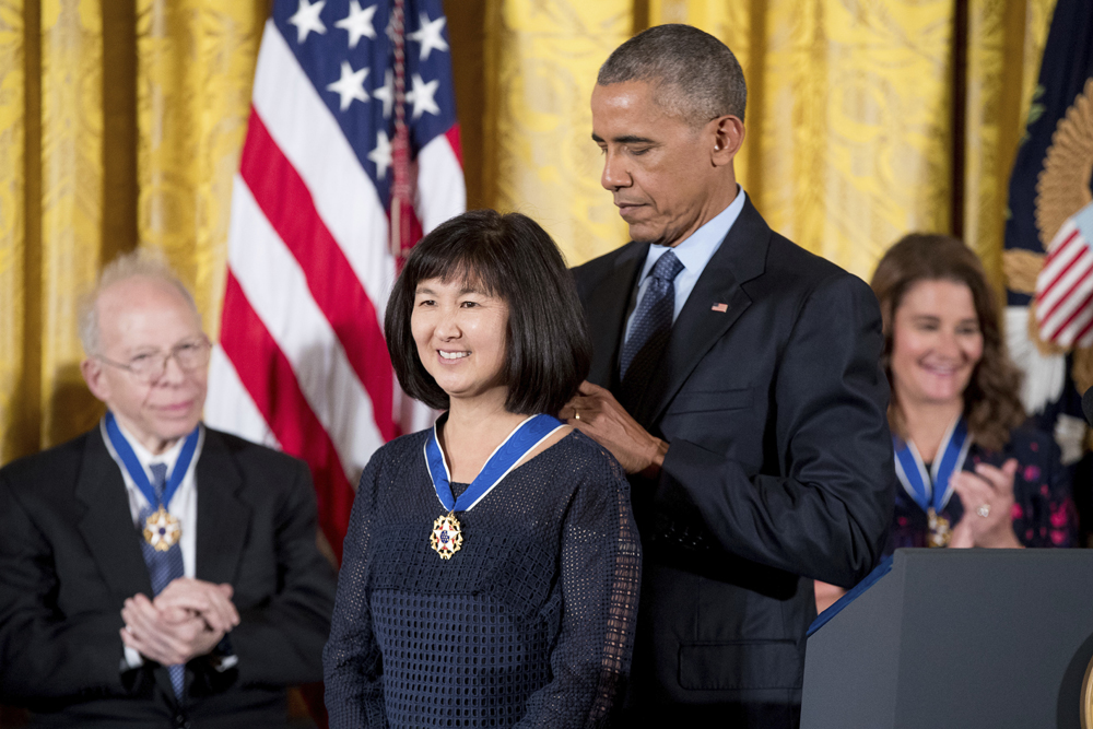 President Obama presents the Presidential Medal of Freedom to Maya Lin.  (AP Photo/Andrew Harnik)