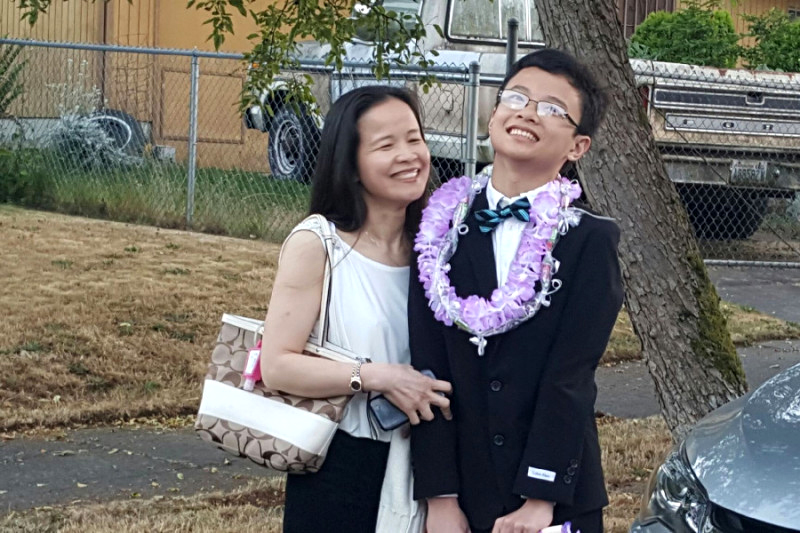 My-Linh Nguyen (left) and her son. (Photo from GoFundMe page.)