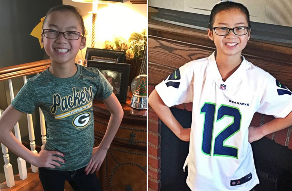Audrey Doering (left) in her Green Bay Packers gear, and Gracie Rainsberry (right) in a Seahawks jersey. (Photos from the Doering and Rainsberry families.)
