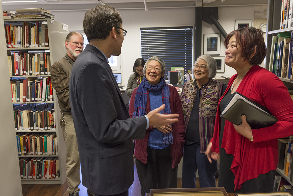 Attorney General Bob Ferguson chats with Bob Fisher, Marge Young, Maxine Loo, and Beth Takekawa of the Wing Luke Museum. (Photo from Washington State Attorney General's Office)