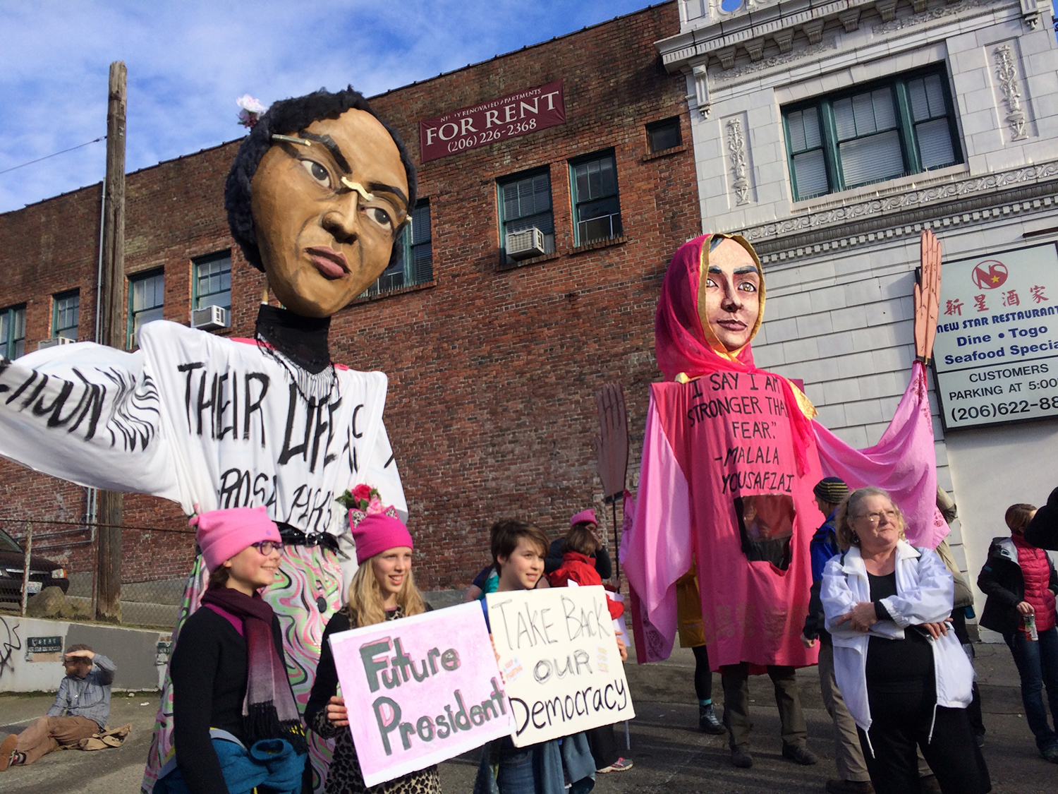 Artists and volunteers created puppets of prominent women leaders. (Photo by Assunta Ng/NWAW)