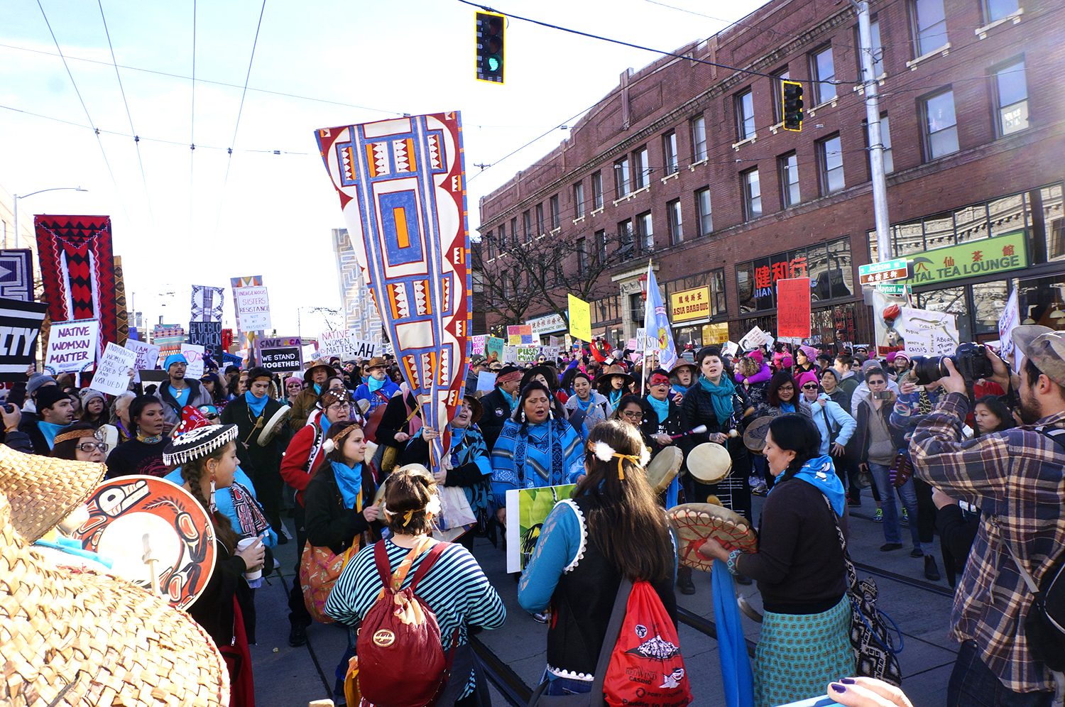 Indigenous sisters resistance led the march. (Photo by George Liu/NWAW)