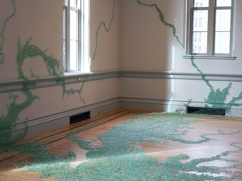 Folding the Chesapeake (2015): Maya Lin used 54,000 marbles to create the Chesapeake Bay at the Renwick Gallery of the Smithsonian American Art Museum. (Smithsonianmag.com)