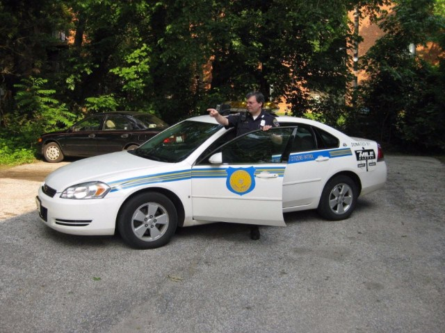 Officer Bennett on Patrol in the NWCP car