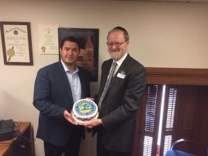 As is custom, NWCP President Neil Schachter presents a birthday cake to Councilman Yitzi Schleifer on the occasion of his birthday.