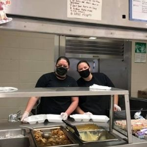 cafeteria workers with masks