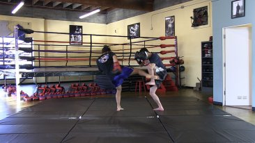 Muay thai kickboxing instructor