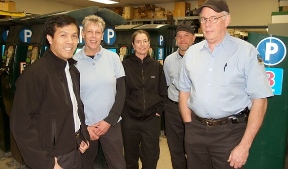It took three years, but six City of Portland parking meter technicians were vindicated in December when an arbitrator ruled the City had broken their union contract and outsourced their work. Pictured from left to right, Laborers Local 483 members Tam Nguyen, Carla Hales, Molly M. Twohy, K. Dean Lucas, and Wayne Lawler. Not pictured is Ben Capps, also in the group.