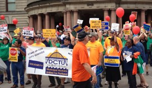 About 200 city-employed union members and supporters held a lively and upbeat rally Aug. 14 at Chapman Square, and marched around City Hall for a fair contract. They made plenty of noise, but got no official reaction from inside City Hall.