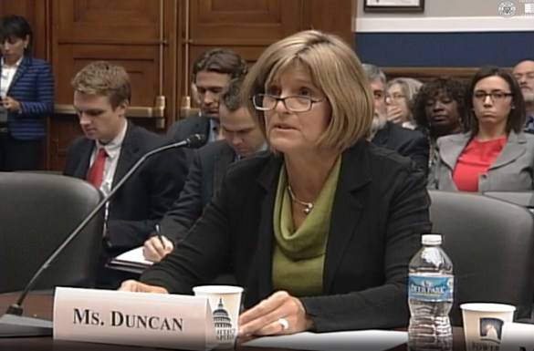 Carol Duncan, CEO of General Sheet Metal in Clackamas, Oregon, testifies Oct. 29 at a hearing on union pension fund crisis held by the U.S. House Subcommittee on Health, Employment, Labor and Pension. Duncan said small union employers are struggling to compete for work because they're saddled with responsibility of making up for pension fund losses, a responsibility that's also affecting access to credit and bonding.