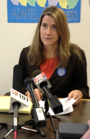 PAT President Gwen Sullivan, at a press conference called to respond to the district.