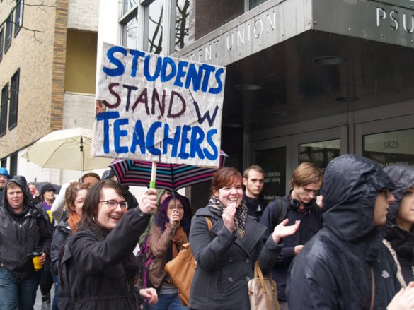 About 500 Portland State University students stood with their teachers Feb. 27, many of them walking out of class to join a picket and rally for a fair contract for members of American Association of University Professors.